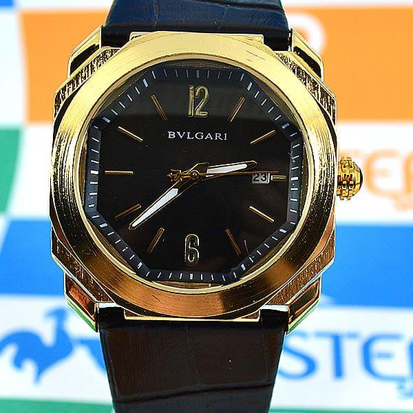b1f59b63345 Relógio Bvlgari Maserati Dourado Fundo Preto Pulseira Couro Masculino À  PROVA D´ÁGUA
