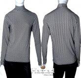 blusa manga longa gola alta M(40/42) em crepe de malha, estampa geométrica