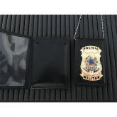 CARTEIRA COM DISTINTIVO E CORRENTE POLICIA MILITAR NACIONAL