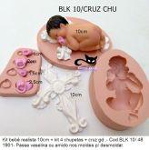 Kit Combo bebê real 10cm + cruz + chupetas