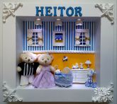 9854f57619615 Quadro Porta Maternidade Menino Ursos Azul Amarelo Led