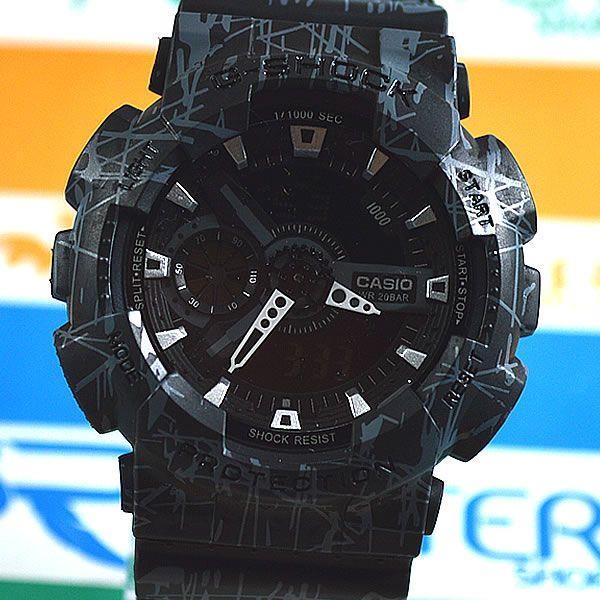 22d014f3093 Relógio Casio G Shock GA-110 Preto Rajados Cinza Masculino à prova d´água