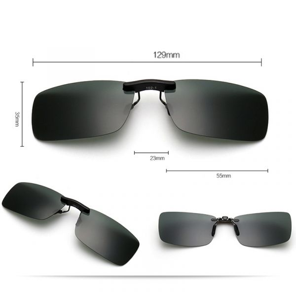 8efb2b553c908 Lentes   Clip de sol para sobrepor em óculos de grau - Polarizadas - Cinza  Escuro