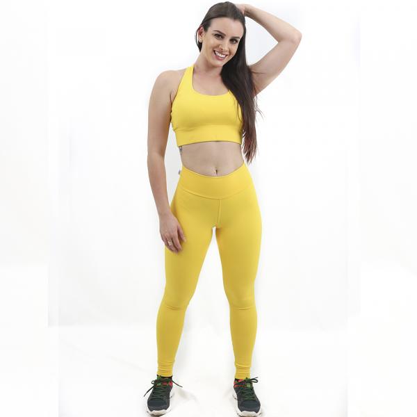 ''Calça Compressão Lisa Amarela - Emana