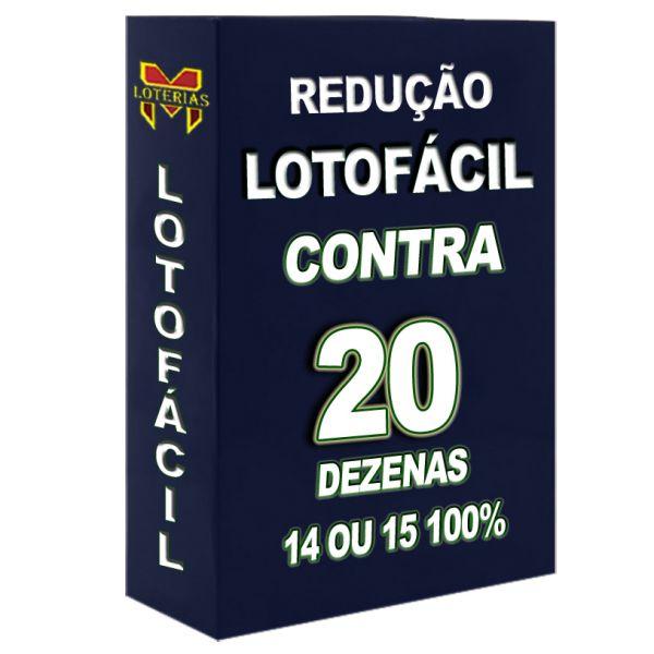 Redução LOTOFÁCIL, com 20 dezenas, 14 ou 15 pontos 100%