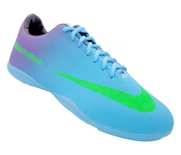 423a839fa Chuteira Futsal Nike Mercurial Roxo e Azul Bebê - ShopMixShoes