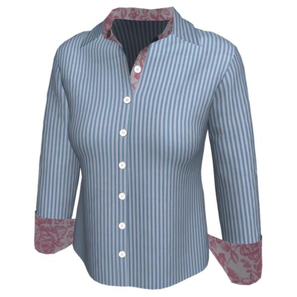 Camisa Longa Detalhes - Listra azul com floral rosa