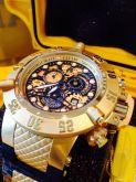 0c6ac2b9a32 Relógio Invicta 18529 Subaqua Chronograph Gold Skeleton Dial Black Banhado  à Ouro 18K