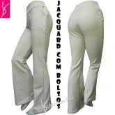 calça flare ou reta(46) com bolsos na frente, offwhite ou bege claro, cintura alta
