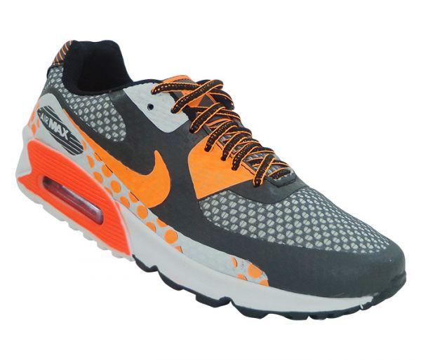4df3d7dd1d0 Tênis Nike Air Max 90 Premium Grafite e Laranja MOD 13919  1ª Linha ...