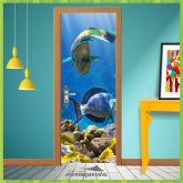 Adesivo Porta - Aquário Peixes - Natureza 006