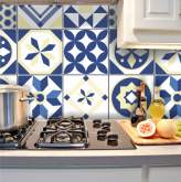 .Adesivo Azulejo Hidráulico Geometrico Retrô Blue - Azulejo 105