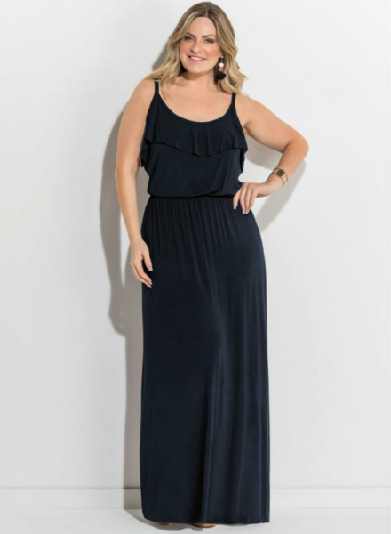 209cb80c59 Vestido longo de alças com babado preto GG - Leka Ribeiro Plus Size