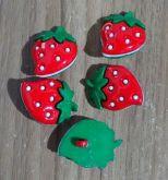 Botões Morango Verde e Vermelho (12 unidades)