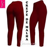Legging vermelha (56/58) em crepe de malha, cintura alta,gramatura média