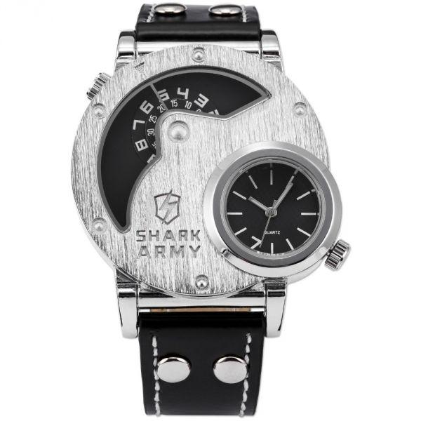 8b1c964929e Relógio Shark Army SAW053 Masculino Esportivo Estilo Militar Com Pulseira  de Couro
