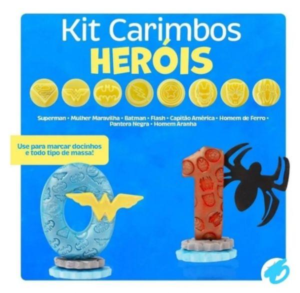 Kit Carimbos Heróis 9 Peças
