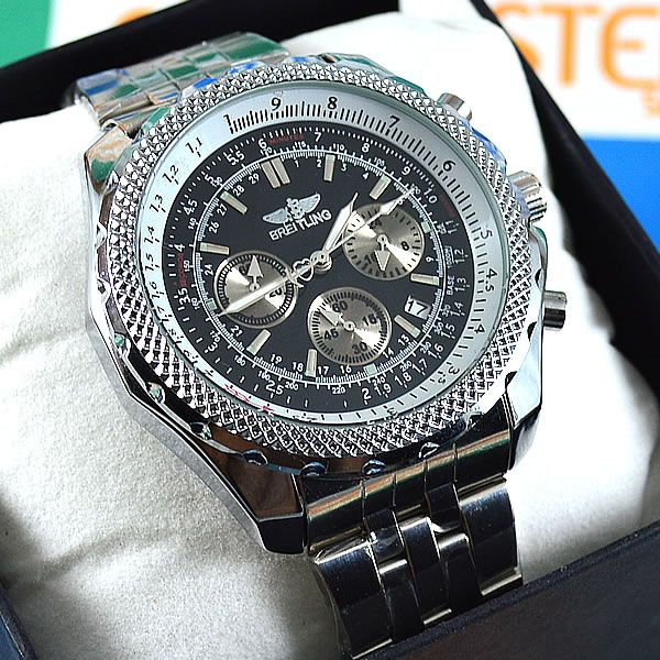 8d55b17d5dd Relógio Breitling for Bentley Funcional Prata Fundo Preto Pulseira Aço  Masculino À PROVA D´ÁGUA