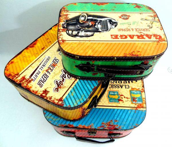 Conjunto Com 3 Maletas em MDF Retrô Vintage Garage