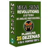 Planilha MEGA-SENA com 25 dezenas 200 apostas 4, 5 ou 6 pontos 100%