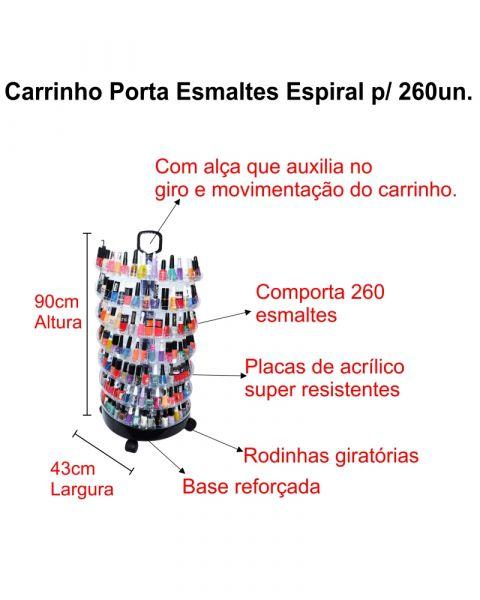 Carrinho Expositor Porta Esmaltes Capacidade Até 260 Unid.