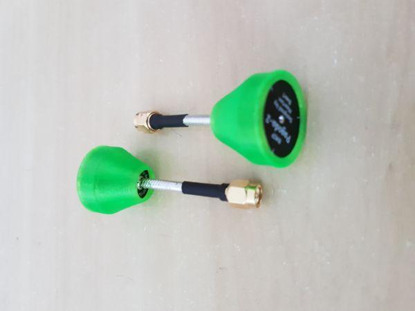 02 Antenas Pagoda 2 RHCP / 5.8GHZ / Comprimento 55mm / Conector RP-SMA C/ Proteção em TPU Cor Verde