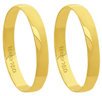 A30 - alianças de ouro 18k, tradicional - Marca cpl