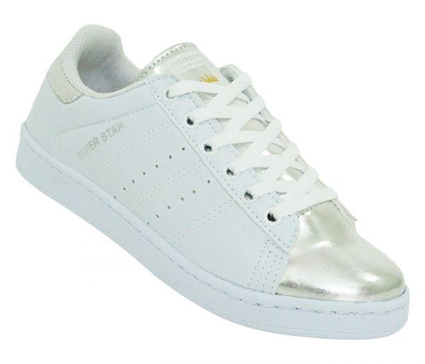 549a03d0709 Tênis Adidas Superstar Nigo Branco e Prata Modelo 14554 - A Pronta Entrega  - Tamanhos 34