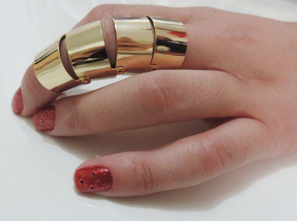 Anel dedo robô  dobrável dourado