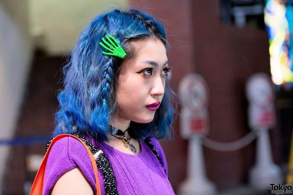 Presilha de cabelo esqueleto - Verde