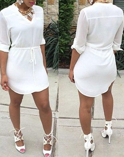 1242d0292d83 Casual V-Neck Branco com cordão cintura Metade Vestido Manga Para Mulheres