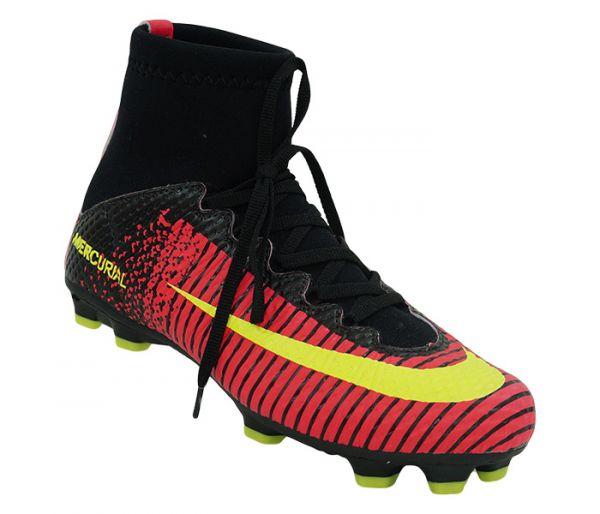 25a292fd0e Chuteira Cano Alto Campo Nike Mercurial Vortex 3 Rosa e Amarelo Limão