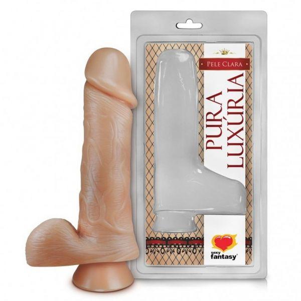 Prótese 18x4,4cm Sem Vibro Com Ventosa E Escroto Sexy Fantasy