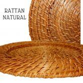 6 Sousplat Rústico Rattan Fechado Claro 33 Cm Ref 0020