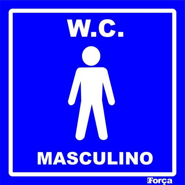Placa WC Masculino  Força Sinalizações -> Sinalizacao Banheiro Feminino E Masculino