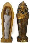 Sarcófago Dourado + Múmia Resina Estatua Ramsés Faraó 12cm