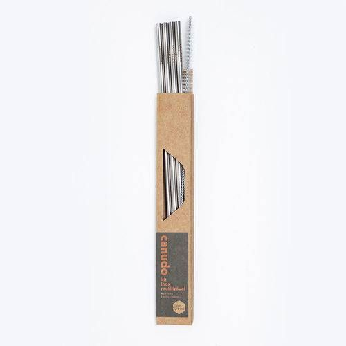KIT 4 Canudos Retos de Inox BeeGreen - Ø0,6cm X 20cm