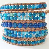 Kit de pulseiras couro pedras  agata azul