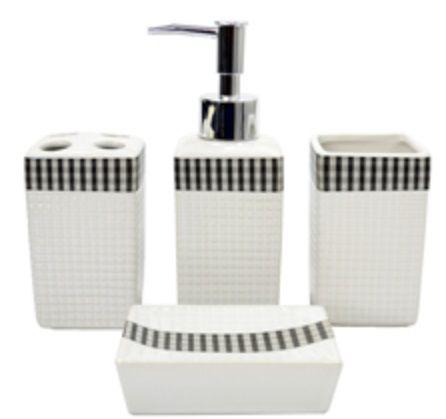 Kit Para Banheiro De Porcelana Xadrez Preto 04 Pçs Scalla