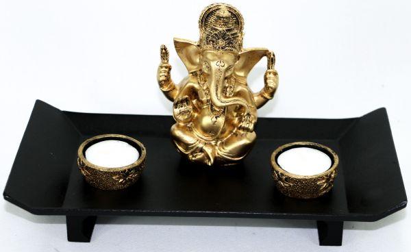 Porta Velas Para 2 velas Altar Aparador com Ganesha