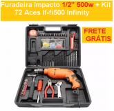 Furadeira Impacto 1/2'' 500w + Kit 72 Aces If-fi500 Infinity