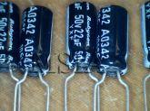 ELETROLÍTICO 22X50 105ºC 5X12mm RUBYCON 22ufx50V PRÉ-CORTADO
