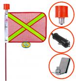 Bandeirola Refletiva Vermelha Haste 1,30mts Suporte Encaixe Vidro com Lâmpada e Plug - CD3551