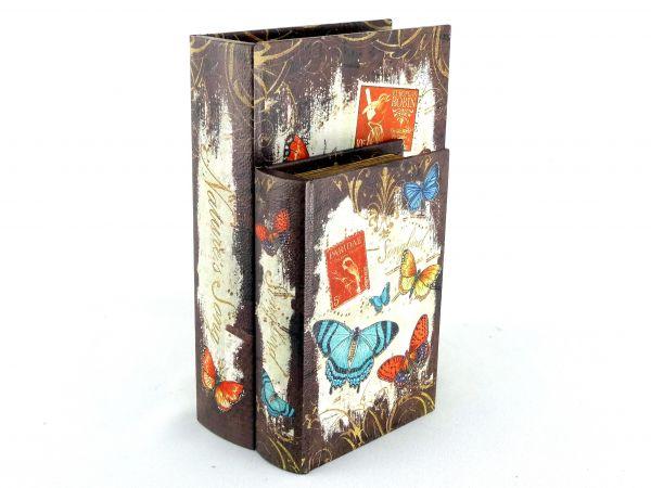 Jogo 2 Caixas Livro Decorativa Borboletas em MDF e Courino