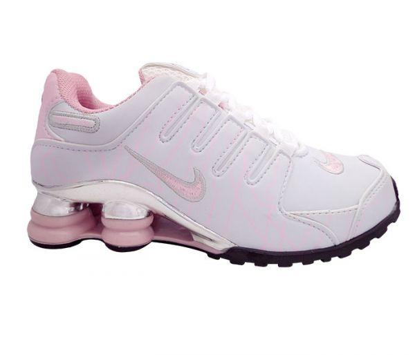 nike shox nz rosa e branco