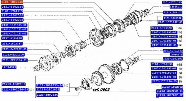 Rolamento da Caixa de transferencia o que vai Atrás do Pião de velocimetro Niva (Novo) Ref. 0803