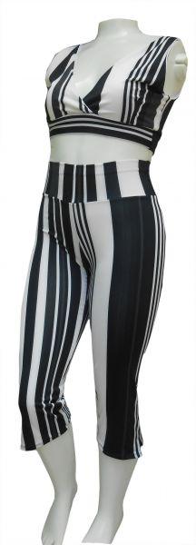 pantacourt com top forrado GG(46), suplex listras preto e branco