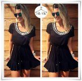 Vestido Bordado (Maxi Colar) Black