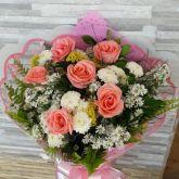 Buque 6 rosas cor rosa