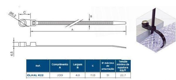 COD 1661 - Abraçadeira Olhal Preta mod. K22